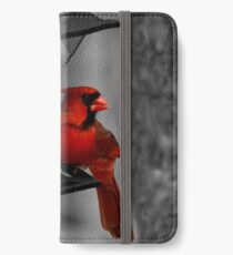 Cardinal at the feeder. iPhone Wallet/Case/Skin