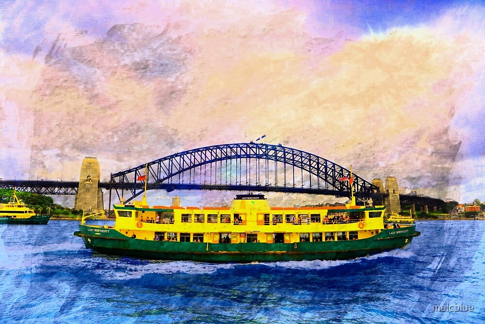 Ferry Boat and Sydney Harbour Bridge by malcblue