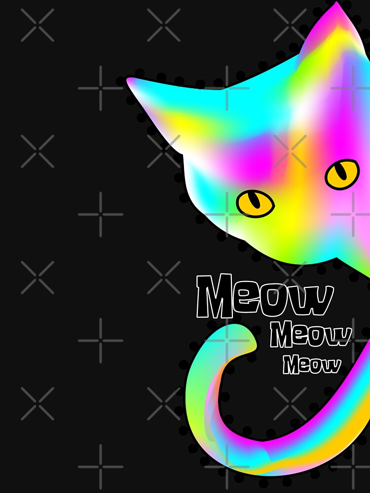 Rainbow Cat Meow T-shirt Funny and colorful Gift by Tetete
