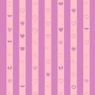 Cute Heart Modern Pink Purple Stripes Pattern by Nhan Ngo