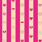 Cute Heart Modern Hot Pink Stripes Pattern by Nhan Ngo