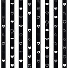 Cute Heart Modern Black White Stripes Pattern by Nhan Ngo