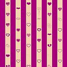 Cute Heart Modern Royal Fuchsia Stripes Pattern by Nhan Ngo