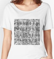 psychedelic abstract art texture in black and white Women's Relaxed Fit T-Shirt