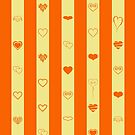 Cute Heart Modern Orange Stripes Pattern by Nhan Ngo