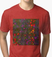 psychedelic abstract art texture background in purple red orange pink Tri-blend T-Shirt