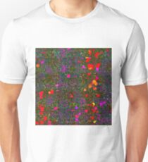 psychedelic abstract art texture background in purple red orange pink T-Shirt