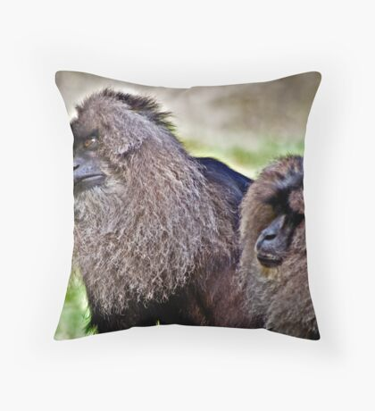 Lion-Tailed Macaques Throw Pillow