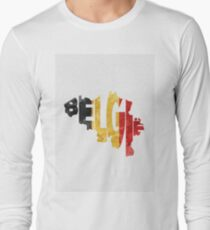 Belgium Typographic Map Flag T-Shirt