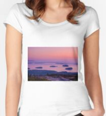 Grindstone Neck at sunrise, Schoodic Peninsula, Women's Fitted Scoop T-Shirt