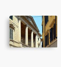 Italian buildings with columns, decorative windows and shutters  Canvas Print