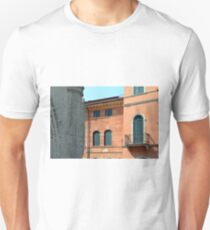 Classical and ancient Italian buildings with red facade and green window shutters  T-Shirt