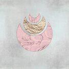 Elegant Rose gold Marble Faux Glitter Half Moon Design by artsandsoul