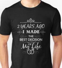 Funny 2nd Wedding Anniversary Shirts For Couples. Funny Wedding Anniversary Gifts Unisex T-Shirt