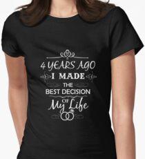 Funny 4th Wedding Anniversary Shirts For Couples. Funny Wedding Anniversary Gifts Women's Fitted T-Shirt