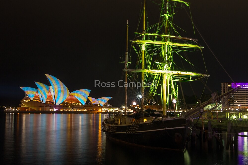 Southern Swan Ship and Sydney Opera House by Ross Campbell