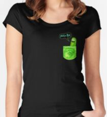 Pickle rick pocket Women's Fitted Scoop T-Shirt