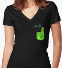 Pickle rick pocket Women's Fitted V-Neck T-Shirt