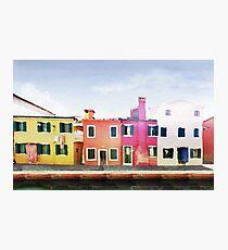 Burano Island near to Venice (Italy) in watercolor Photographic Print