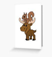 Moose, squirrel and cupcake Greeting Card