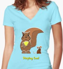 Staying Cool Squirrel and Mouse Women's Fitted V-Neck T-Shirt