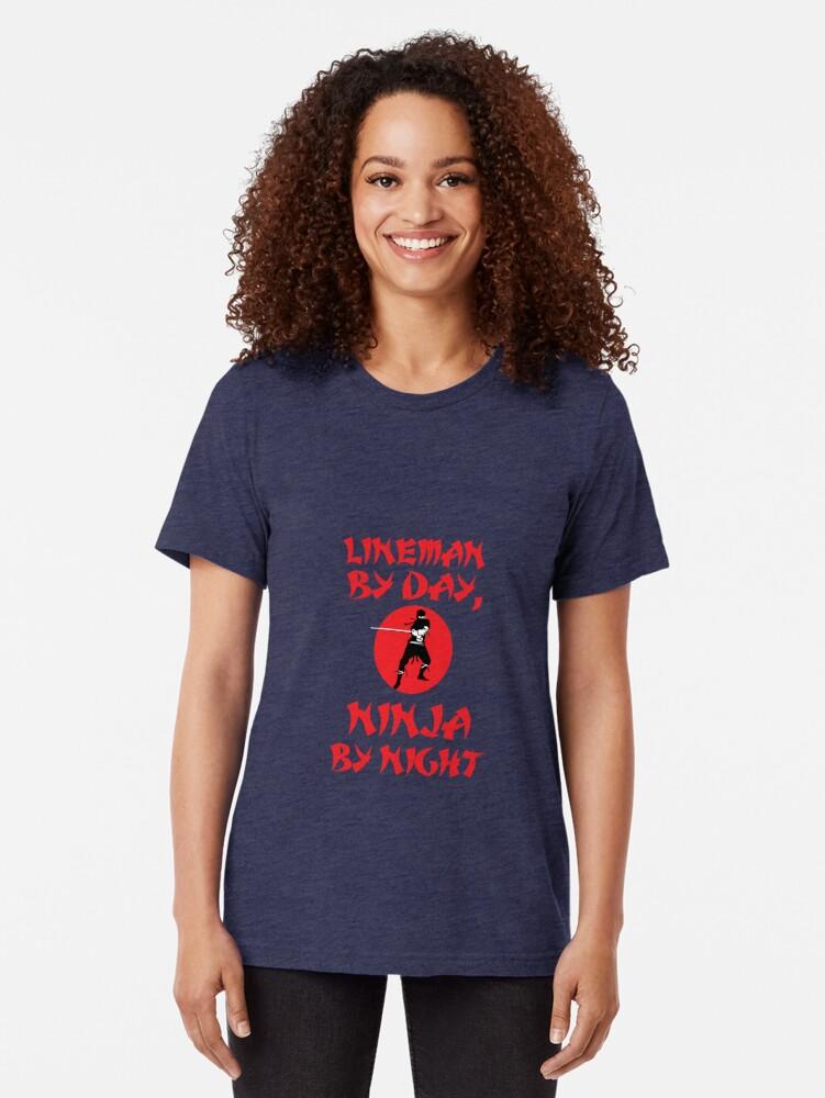 Alternate view of Lineman Day Ninja Night Tri-blend T-Shirt