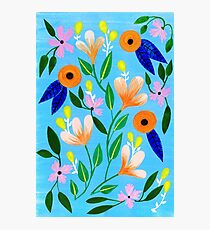 Flowers on blue Photographic Print