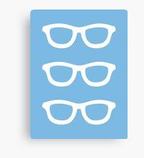 Pastel Blue Smart Glasses Pattern Canvas Print