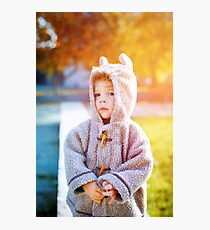 Cute little kid boy in funny clothes like teddy bear Photographic Print
