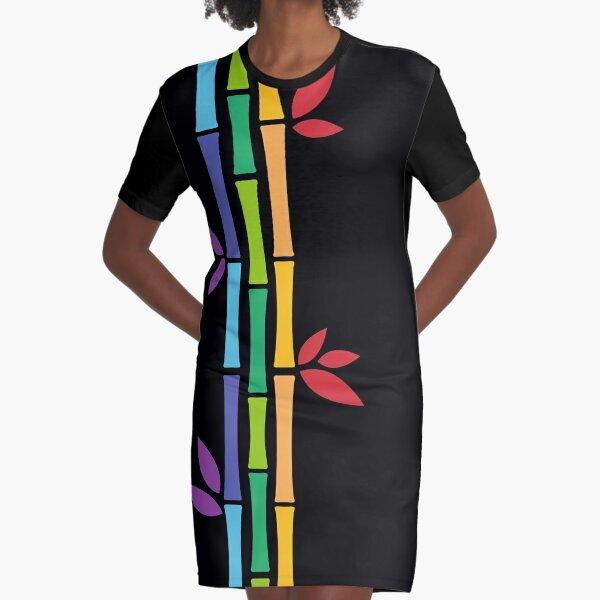 Rainbow Bamboo Graphic T-Shirt Dress