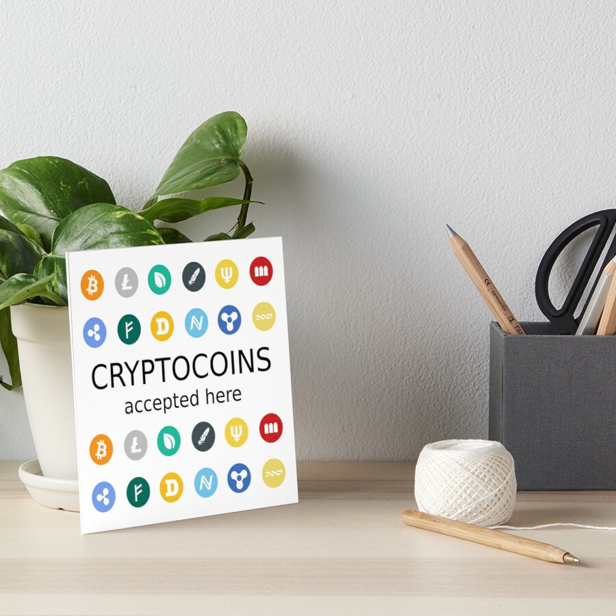 «cryptocoins accepted here» de yourgeekside