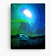 Moon in a Blue and Green Sky and on the Sea 3 Canvas Print