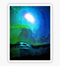 Moon in a Blue and Green Sky and on the Sea 3 Sticker