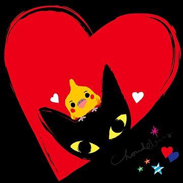 BLACK CAT,COCKATIEL,HEARTS by Chandelina