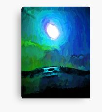 Moon in a Blue and Green Sky and on the Sea 2 Canvas Print