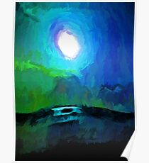 Moon in a Blue and Green Sky and on the Sea 2 Poster