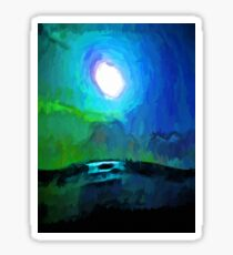 Moon in a Blue and Green Sky and on the Sea 2 Sticker