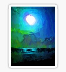 Moon in a Blue and Green Sky and on the Sea 1 Sticker