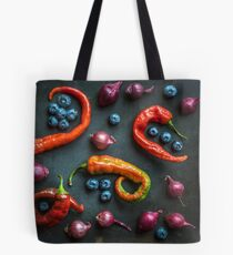 Peppers, blueberries and baby red onions No. 32 Tote Bag
