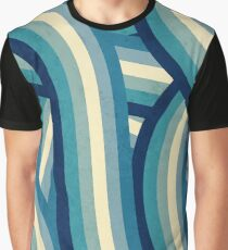Vintage Faded 70's Style Blue Rainbow Stripes Graphic T-Shirt
