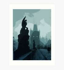 Gothic Prague - Charles bridge Art Print