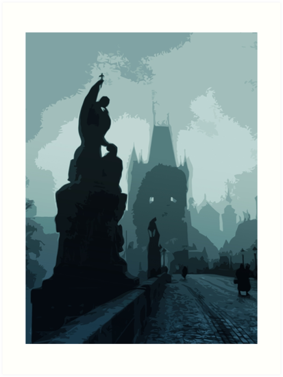 Gothic Prague - Charles bridge by Andrea Mazzocchetti