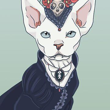Victorian vampire kitty by spectralstories