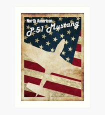 Vintage P-51 Mustang Art Print