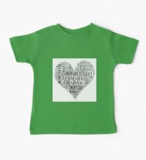 7 DAYS OF SUMMER- –TEXT LOVE HEART BLACK Baby Tee