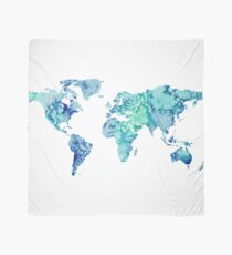 world map sticker blue and green watercolor design  Scarf