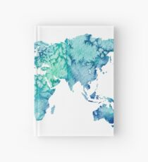 world map sticker blue and green watercolor design  Hardcover Journal