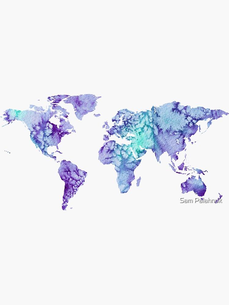 World Map: purple and green watercolor design  by sampalahnukart