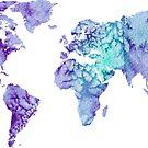 World Map: purple and green watercolor design  by Sam Palahnuk
