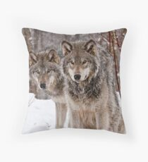 Timber Wolf Pair Throw Pillow